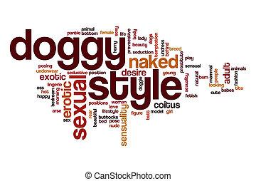 style, concept, mot, doggy, nuage