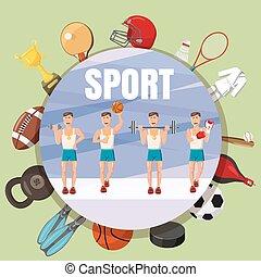 style, concept, section, symboles, sport, dessin animé