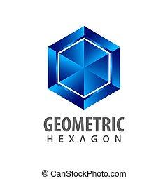style, concept, symbole, trois, élément, dimensionnel, graphique, gabarit, logo, géométrique, hexagone, design.