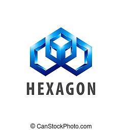 style, concept, symbole, trois, élément, dimensionnel, graphique, gabarit, logo, hexagone, design.