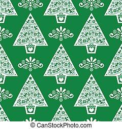 style, conception, art, scandinave, vert, modèle, noël, vecteur, folklorique, blanc, seamless, arbre, retro, fond, -