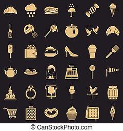 style, confiserie, icônes, ensemble, usine, simple