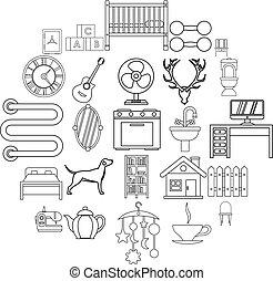 style, confortable, icônes, ensemble, maison, contour