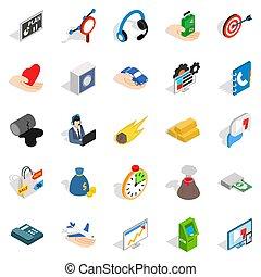 style, connexion, isométrique, ensemble, icônes