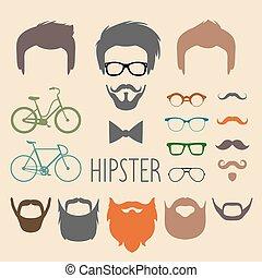 style, constructeur, hommes, tflat, différent, vélos, haut, lunettes, barbe, ensemble, vecteur, coupes cheveux, moustache, grand, robe, hipster