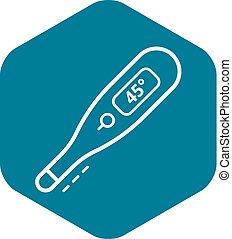 style, contour, élevé, thermomètre, icône, température