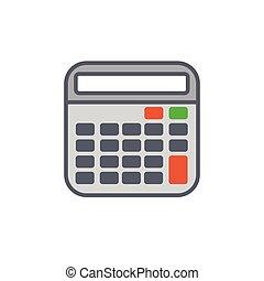 style, contour, calculatrice, illustration, vecteur, ou, icône