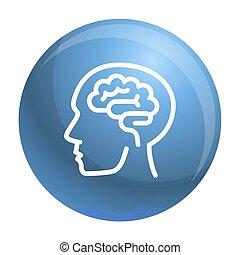 style, contour, cerveau, humain, icône, penser