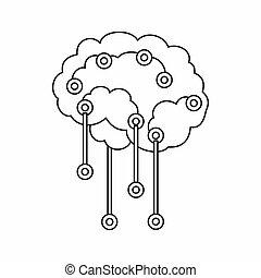 style, contour, cerveau, humain, icône, sensors