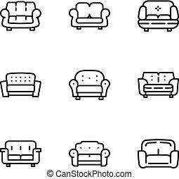 style, contour, classique, ensemble, sofa, icône