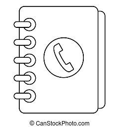 style, contour, combiné, annuaire, icône