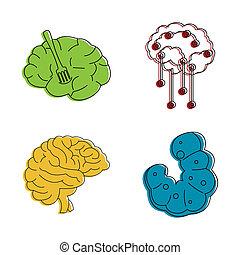 style, contour, ensemble, cerveau, humain, couleur, icône