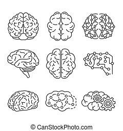 style, contour, ensemble, cerveau, mémoire, icône