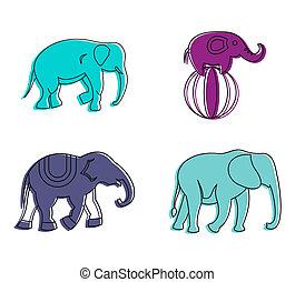style, contour, ensemble, couleur, éléphant, icône