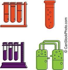 style, contour, ensemble, tube, chimique, couleur, icône