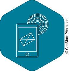 style, contour, envoyer, téléphonez icône, email