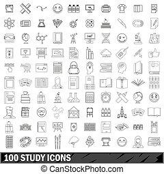 style, contour, icônes, ensemble, étude, 100