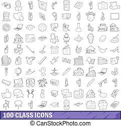 style, contour, icônes, ensemble, 100, classe