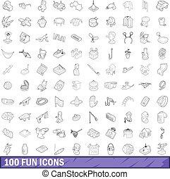style, contour, icônes, ensemble, amusement, 100
