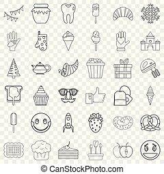 style, contour, icônes, ensemble, doux, remplir