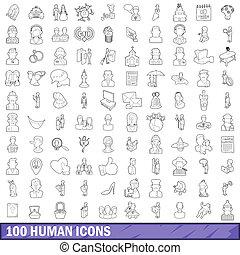 style, contour, icônes, ensemble, humain, 100