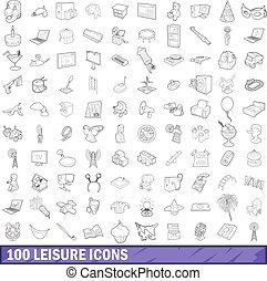 style, contour, icônes, ensemble, loisir, 100
