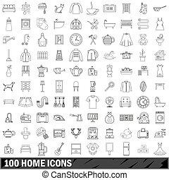 style, contour, icônes, ensemble, maison, 100