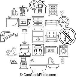 style, contour, icônes, ensemble, maison, confortable