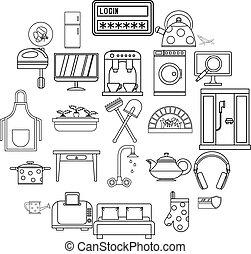 style, contour, icônes, ensemble, maison, frais