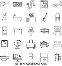 style, contour, icônes, ensemble, maison, logement