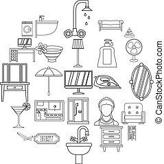 style, contour, icônes, ensemble, maison, public