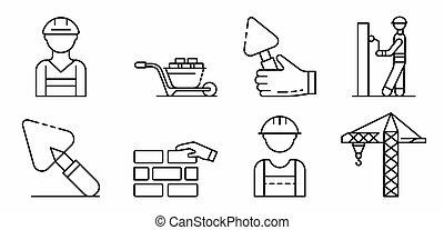 style, contour, icônes, ensemble, ouvrier, maçonnerie