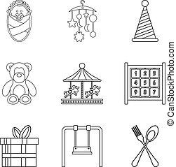 style, contour, icônes, ensemble, rue, célébration