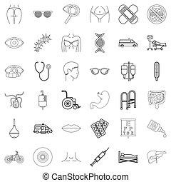 style, contour, icônes, ensemble, santé, humain