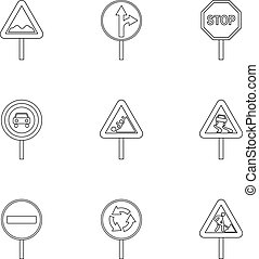 style, contour, icônes, ensemble, signe, avertissement