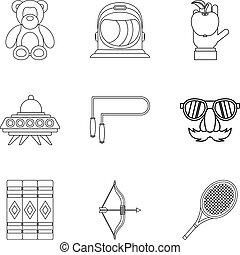 style, contour, icônes, mascarade, ensemble, enfants