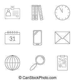 style, contour, icones affaires, ensemble, plan