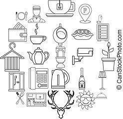 style, contour, meublé, ensemble, icônes, salles