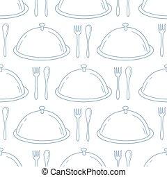 style, contour, modèle, servir, seamless, main, fond, dessiné, dish., cuisine