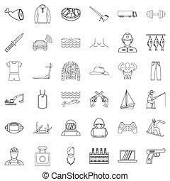 style, contour, nature, ensemble, icônes, humain
