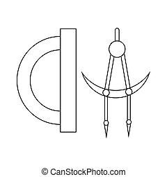 style, contour, outillage, rapporteur, compas, icône