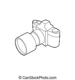 style, contour, photo, lentille, appareil photo, icône