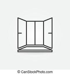 style, contour, rebord fenêtre, plastique, fenêtre, vecteur, icône