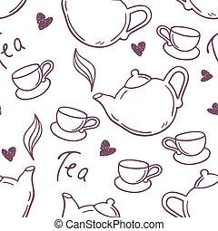 style, contour, tasse, thé, seamless, main, modèle fond, teapot., dessiné