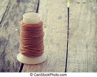 style, corde, bobine, vieux, bois, grossier, retro, vendange