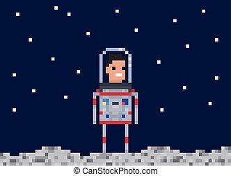 style, cosmonaute, illustration., gens, art, character., jeu, vecteur, astronaute, 8, morceau, pixel, design.