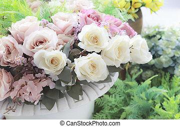 style, couleur temps, arrangé, fleurs, arrière-plan pastel, bonheur, roeses, bouquet, vendange, événement, décoration, usage, maison, blanc