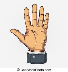 style., count., retro, mostrando, vetorial, cinco, mão