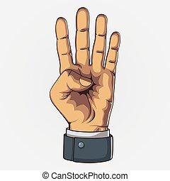 style., count., retro, projection, vecteur, quatre, main