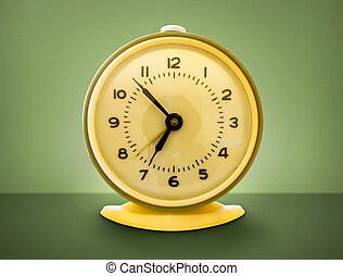 style, coup, reveil, clock., froussard, retro, 70